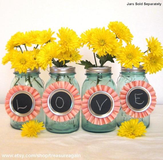 Mason Jar Party Decorations: Items Similar To Pink Ribbon Chalkboard Mason Jar