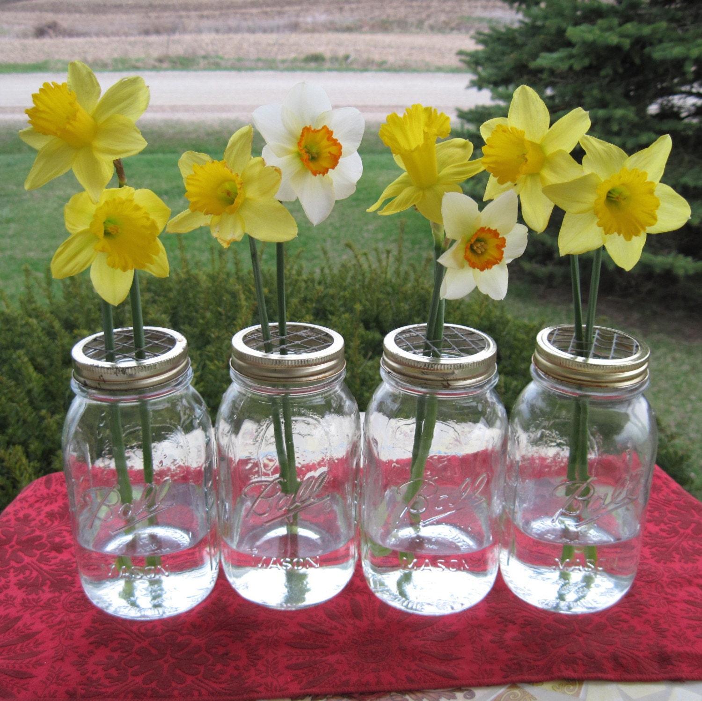 Mason Jars Quart Vases 4 Upcycled Flower Frog By Treasureagain
