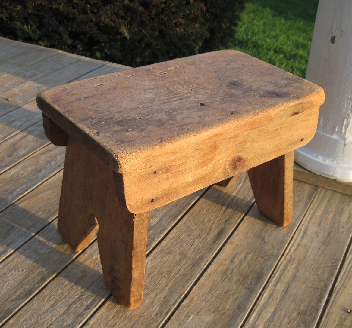 Vintage Bench Wooden Primitive Bench For A Foot Stool The