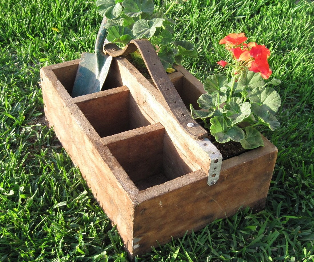 Vintage Wooden Divided Box Planter Tool Box Or Garden