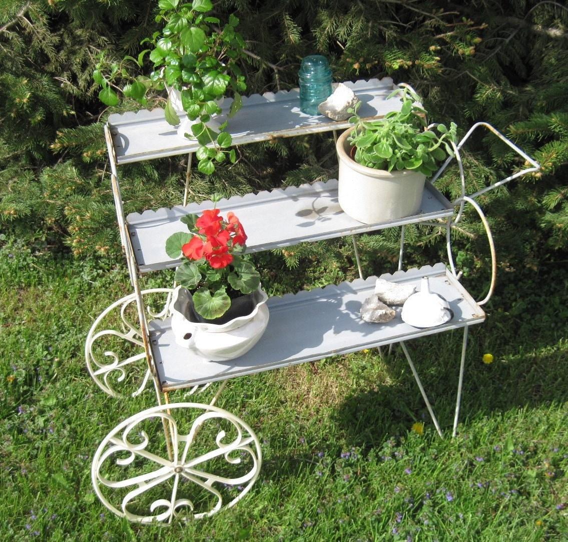 Vintage Metal Planter Mid Century Modern Metal Cart House