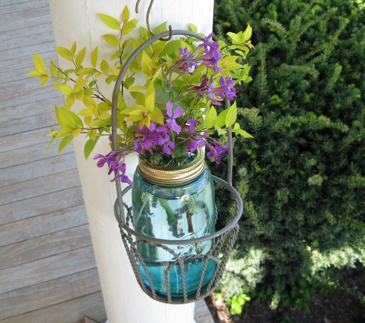 Vintage Mason Jar And Flower Frog Lid Upcycled Quart Ball Jar