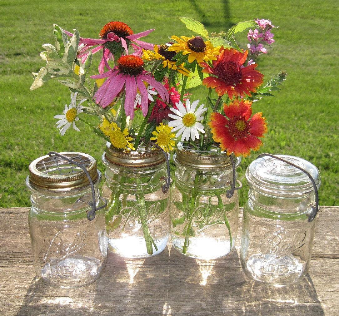 Mason Jars Flower Frog Lids Pint Vases 4 Upcycled Lightning