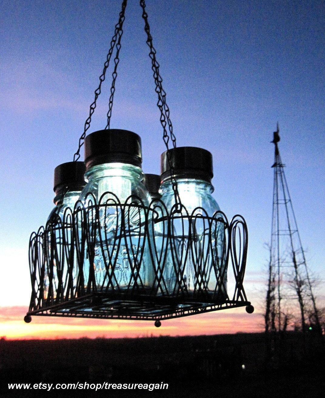 Mason Jar Chandelier: RESERVED Mason Jar Chandelier By Treasureagain