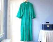Green Caftan Dress Vintage Kimono Robe Plus Size Kaftan Dress 80s Ariel New York