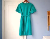 Belted Teal Dress Vintage 70s Shift Dress Day Knit Plus Size XL Extra Large
