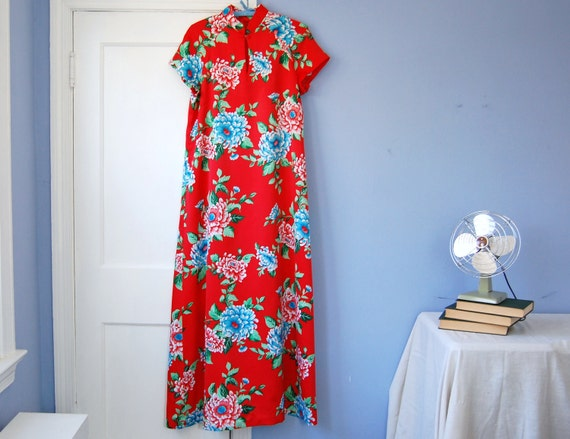 Hilo Hattie Maxi Dress Vintage Hawaii Red Japanese Floral Tiki 60s Muumuu Large