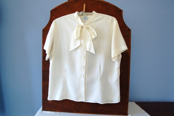 Pussy Bow Blouse Judy Bond Vintage 60s Top Tie Neck Shirt Large As Is