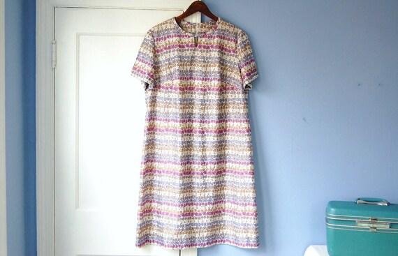 60s Sundress Vintage Summer Flower Dress Purple Shift Dress Spring Floral Print Keyhole Large XL