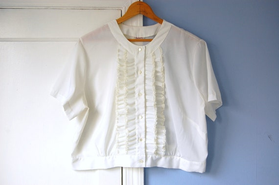 White Ruffle Blouse Vintage Crop Top Secretary Shirt Button Up Baroness Large Plus Size