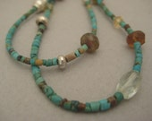Turquoise,Tourmaline, Silver, Necklace Handcrafted