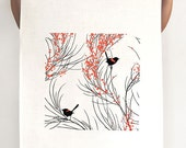 Tea Towel 'Red-Backed Wren & Wattle'