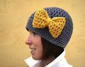 Minnie's Grey Crochet Hat with Bright Yellow Bow