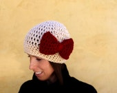 Perfect Present Red Bow Crochet Hat
