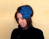 Crochet Flower Headband in Turquoise