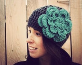 Crochet Beanie in Grey with Large Turquoise Flower