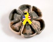 ACU God Bless Our Troops Flower Brooch