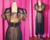 Vintage 1930's Silk Chiffon Floral Print Gown with Jacket