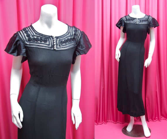 RESERVE FOR KATIE VIntage 1930's Black Rayon Dress with Charmeuse Rosettes and Faggoting
