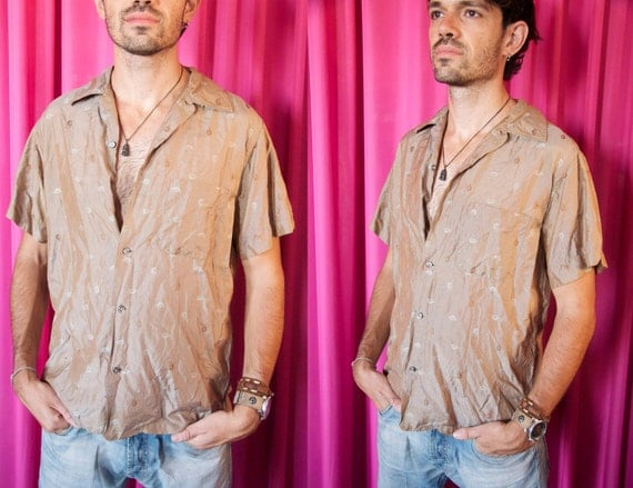 Vintage 1950's Silk Jauquard Iridescent Tribal Swirl Shirt- Medium