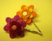 Child or Adult Hair Pins Bright flowers