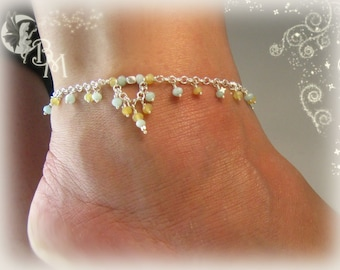 Amazonite and Yellow Opal Anklet