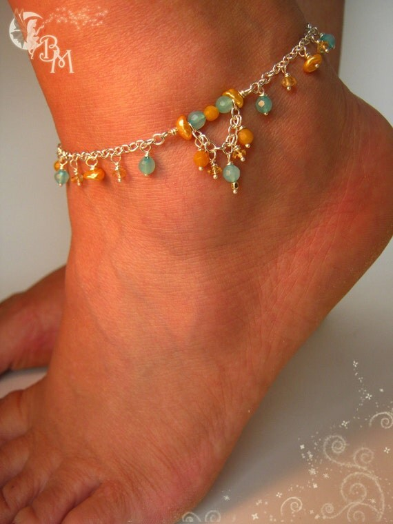 Apatite, Citrine and Yellow Pearl Anklet