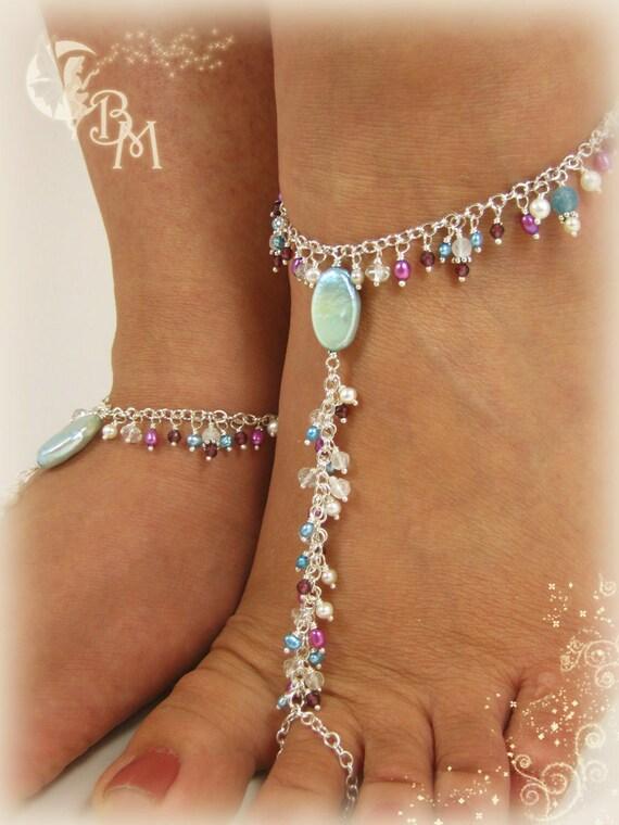 Moonstone, Garnet and Pearl Beaded Barefoot Sandal