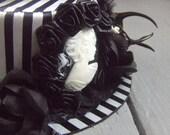 RESERVED ladynightshade DeathGlam monochromatic REAL BEETLE beetlejuice mini top hat