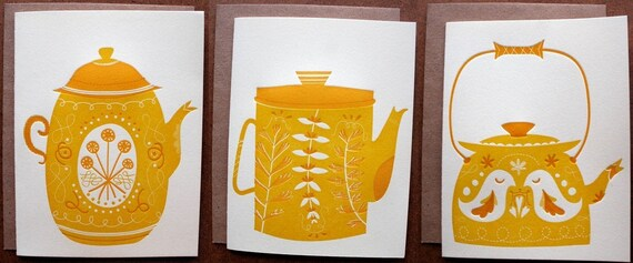 Teapots LETTERPRESS Cards/Small Prints, pack of 3 different designs
