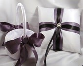 Fifth Avenue Wedding Ring Bearer Pillow and Flower Girl Basket Set - You Choose Your Colors