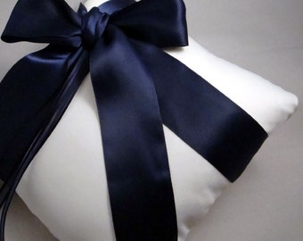 Gabriella Ring Bearer Pillow in White and Navy - Pick Your Own Color