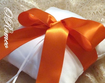 Gabriella Ring Bearer Pillow. Shown in White and Orange - Pick Your Own Color