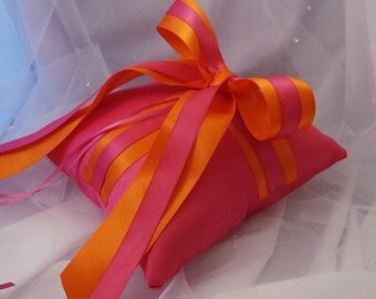 Gabriella Ring Bearer Pillow in Fuchsia and Orange - Choose Your Own Colors.