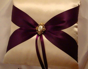 Fifth Avenue Ring Bearer Pillow - Choose Your Colors. Shown in Champagne and Eggplant.