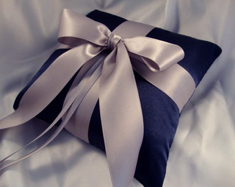 Gabriella Ring Bearer Pillow - Pick Your Own Color - Shown in Navy and Gray