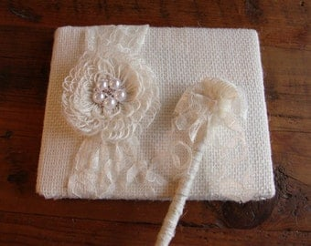 Rustic Burlap Lace Pearl and Rhinestone Wedding Guest Book and Pen Set. Style: Naomi
