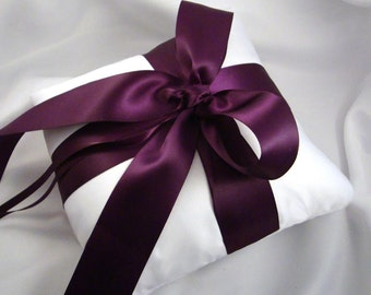 Gabriella Wedding Ring Bearer Pillow shown in White and Eggplant.  Choose Your Own Colors