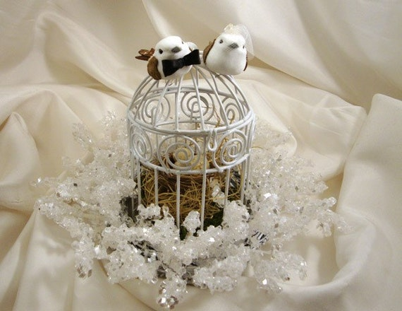 birdcage wedding cake topper winter wedding cake topper birdcage and nest woodland chic 1726