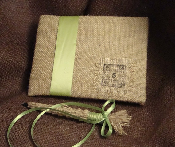 Rustic Burlap Wedding Guest Book Personalized with Your Initial and Pen Set - Choose Your  Guestbook Colors