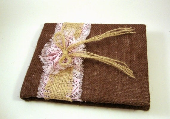 Country Rustic Burlap Wedding Guest Book - Customize To Match Your Rustic Ceremony