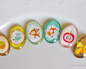 6pcs Friendly woodland creatures - fawn gnome apple acorn butterfly owl - 25x18 mm oval cabochon (ready for bezel)