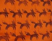 Block printed Hand printed lino cut black foxes on bright orange cotton fabric Fat Quart
