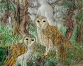 Barn Owls Original Embroidered and Quilted Silk Painting Wall Hanging Textile Art OOAK
