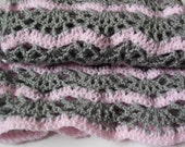 Pink and Grey Crocheted Lace Scarf