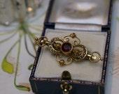 Victorian Garnet Seed Pearl Brooch-Ornate Victorian Brooch Pendant- Victorian Seed Pearl Brooch With Faceted Garnet-Seed Pearl Brooch