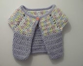 Girls crochet cardigan sweater in pastel and purple  baby, toddler sizes available