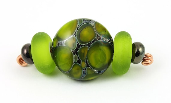 Green Silvered Focal lampwork bead