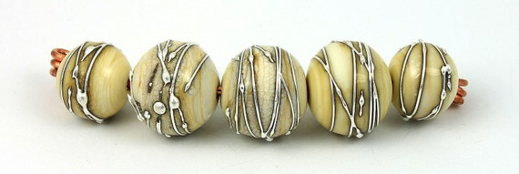 Antiqued Ivory with silver wrapping 3 - lampwork bead set of 5