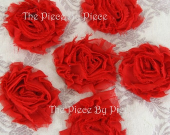 6 Piece  Red Fabric Flowers